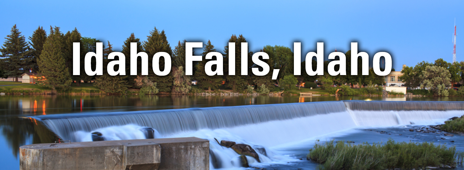 The Idaho Falls community is an active regional hub located west of the base of the Rocky Mountains in the Snake River Plain.